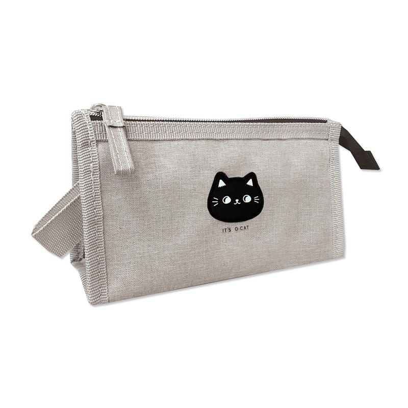 O-Cat 可愛貓頭三角筆袋-灰 JPC-126A