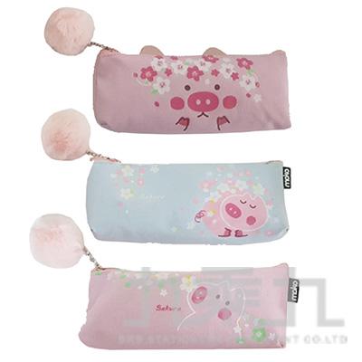 櫻花粉粉豬大三角筆袋 A0654