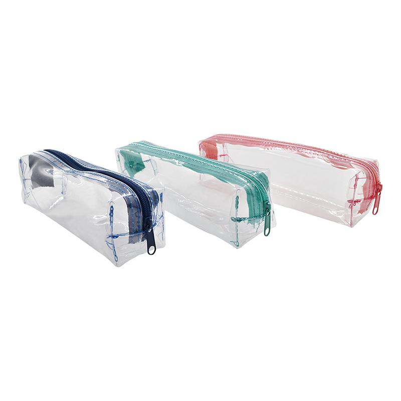 無毒透明長方筆袋(II)-柔瑰粉