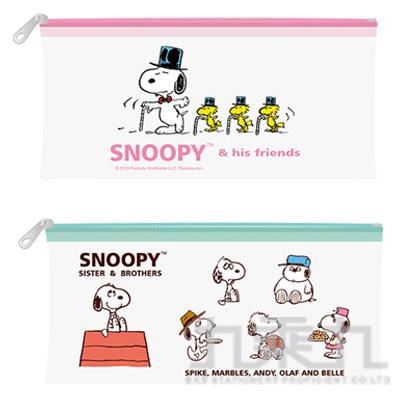 SNOOPY 歡聚系列 透明扁筆袋 (款式隨機)