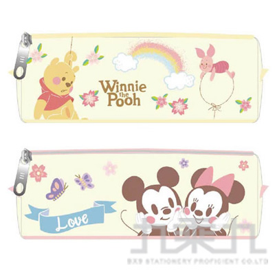 迪士尼 櫻花系帆布方型筆袋 (款式隨機)
