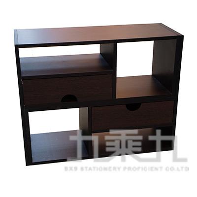 桌上型伸縮置物架 深胡桃木色