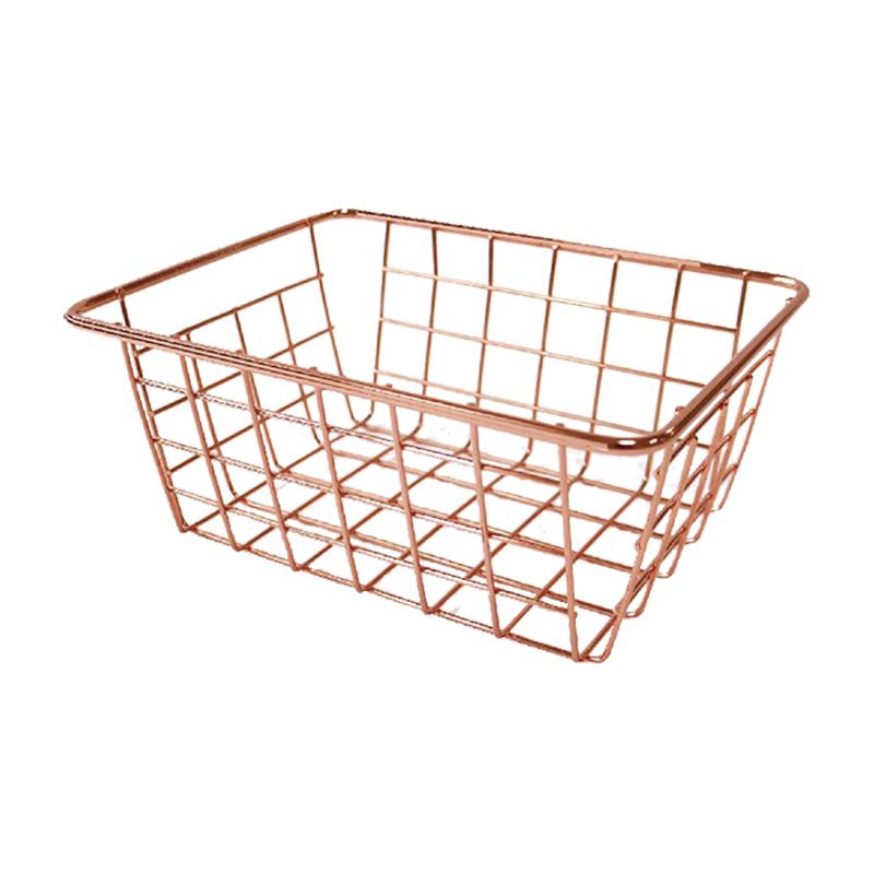 鐵藝(小)方型收納籃(玫塊金)-簡單生活 CZ-361A