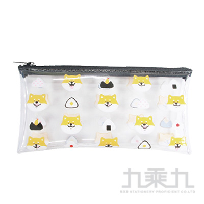 柴犬透明扁筆袋-飯糰 UECA-2601