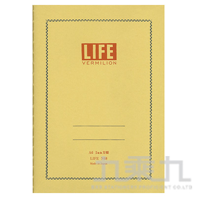 (日)LIFE VERMILION A6方眼筆記本 N68