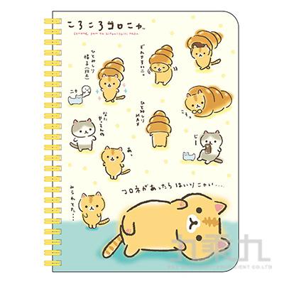 捲捲麵包貓25K線圈筆記本-點點黃 CC06041A