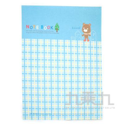 16K平裝筆記小熊-格紋藍 AF1081