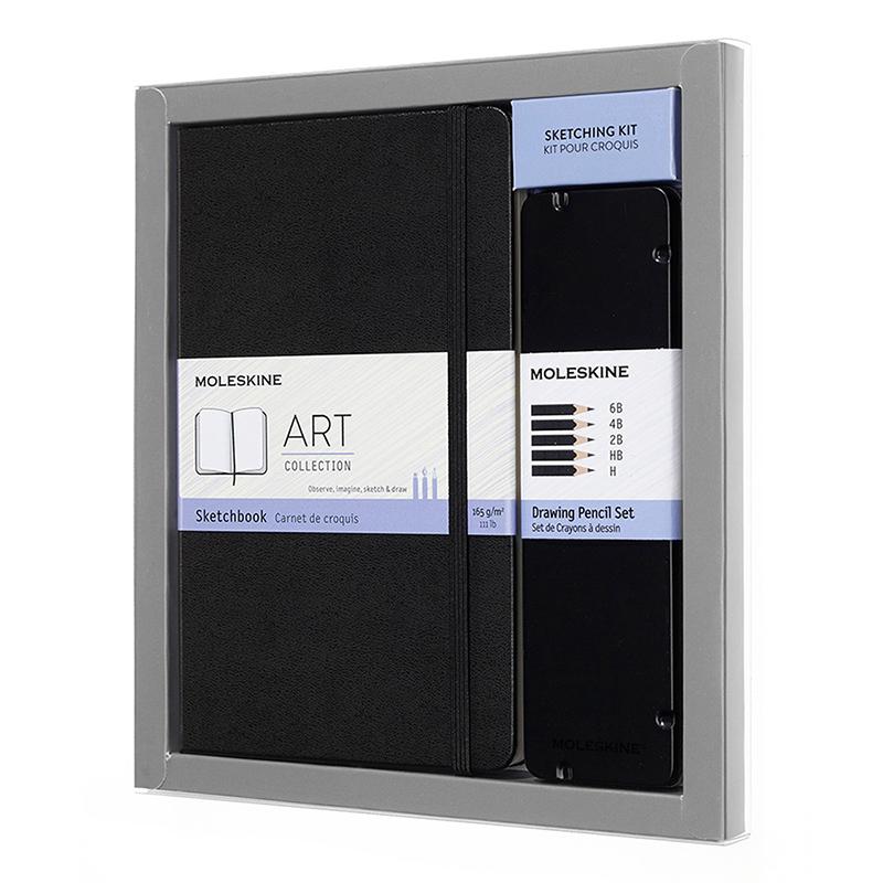 MOLESKINE 藝術系列素描畫冊組-素描本L型黑+素描鉛筆