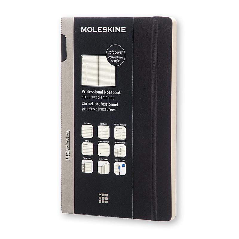 MOLESKINE專業軟皮筆記本-L型黑
