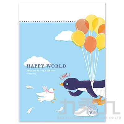 16K空白定頁筆記本(氣球企鵝)