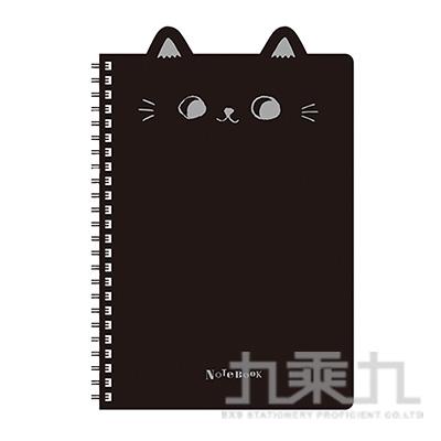 O-cat 25K貓耳PP線圈本(黑)
