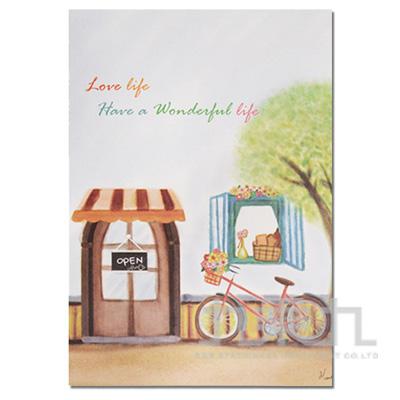 水彩風25K空白固頁筆記本-咖啡店 DK-5196D