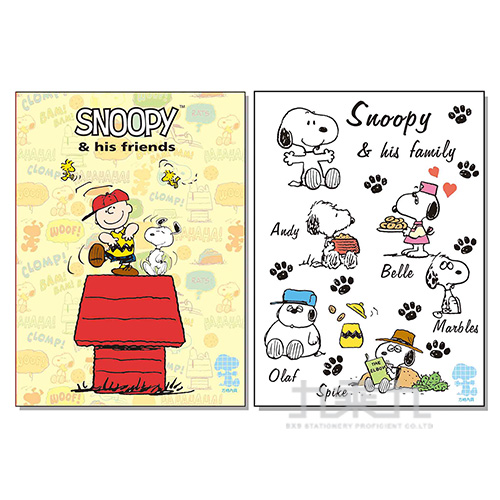 SNOOPY 16K固頁筆記-方格 SNPN16-5