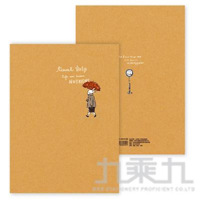 旅人-牛皮方格筆記 雨傘 BN-1691B