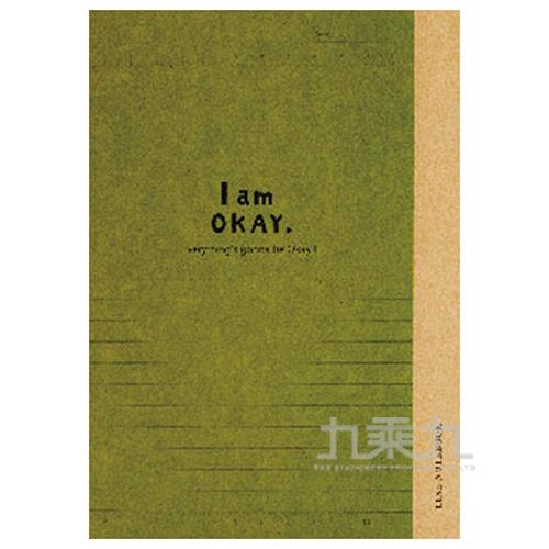 I am okay 25K橫罫加厚定頁筆記-綠