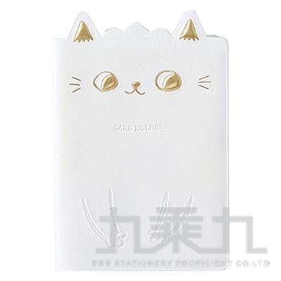 O-CAT貓耳膠皮隨身名片本(白) JCC-33A