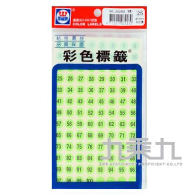 華麗螢光數字圓形標籤9mm(綠色) WL-202BG