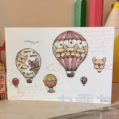 鬼畫福厚磅明信片-夢想熱氣球