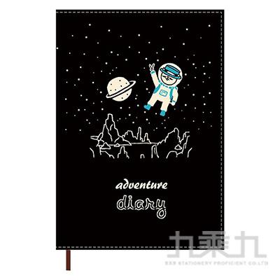 2021 32K跨年雙線圈布書衣手帳(太空-黑)-貓行李