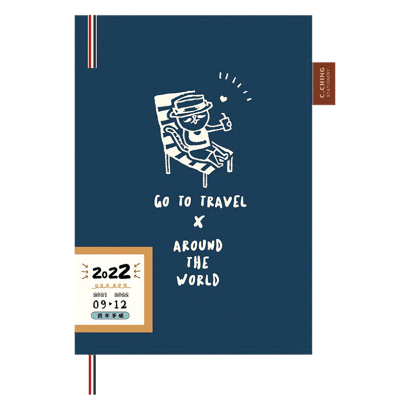 2022 32K跨年雙線圈布書衣手帳(渡假-藍色)-貓行李