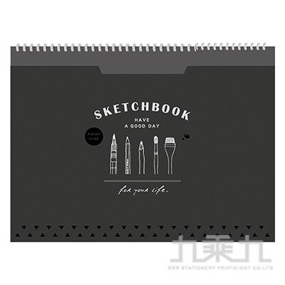 18K口袋素描本(黑)-簡單生活 CB-1818B