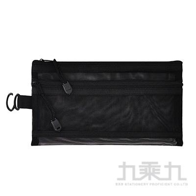 雙層A6雪紗網拉鍊袋(黑) LW-A1743B