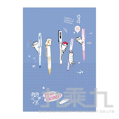 O-Cat插畫家系列細版26孔夾(藍) JBN-186D