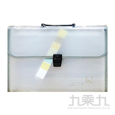 B&W智慧學人A4手提織帶風琴夾(白) YHB-A412-15B