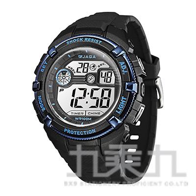 捷卡冷光電子錶-M932-AE(黑藍)