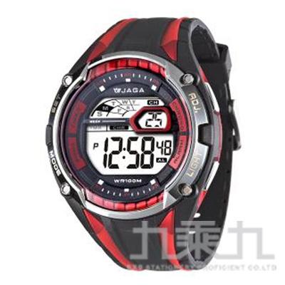 捷卡 冷光電子錶(黑紅) M980-AG