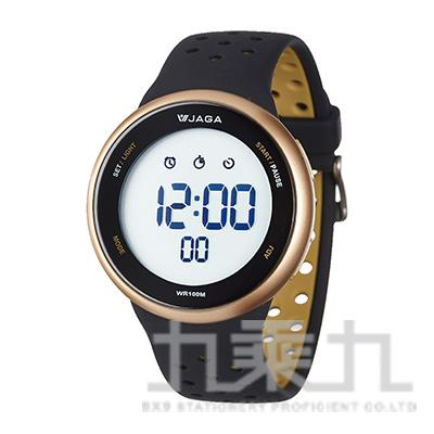 捷卡冷光電子中性錶-黑金白 M1185-AL1