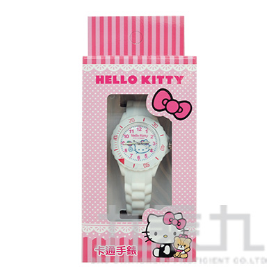 Hello Kitty 貓卡通石英錶(白粉) S7-1039K