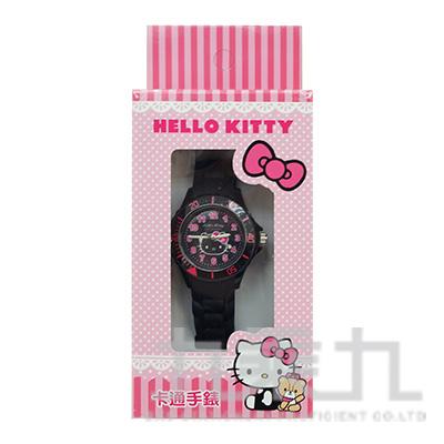 Hello Kitty 貓卡通石英錶(黑粉) S7-1040K