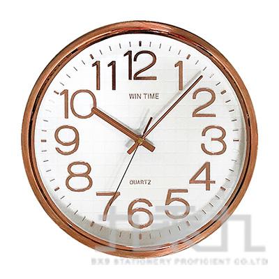 12吋玫瑰金靜音立體字時鐘 W-9153