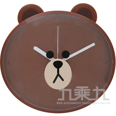 LINE FRIENDS 熊大造型掃秒掛鐘JM-W606LE-BR