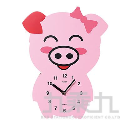 微笑粉紅豬掛鐘-蝴蝶結