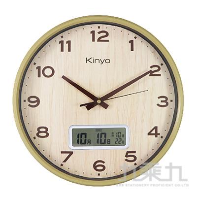 KINYO LCD顯示木紋掛鐘  CL-207