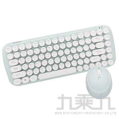 aibo KM12 棉花糖打字機 2.4G無線鍵盤滑鼠組(湖水藍)