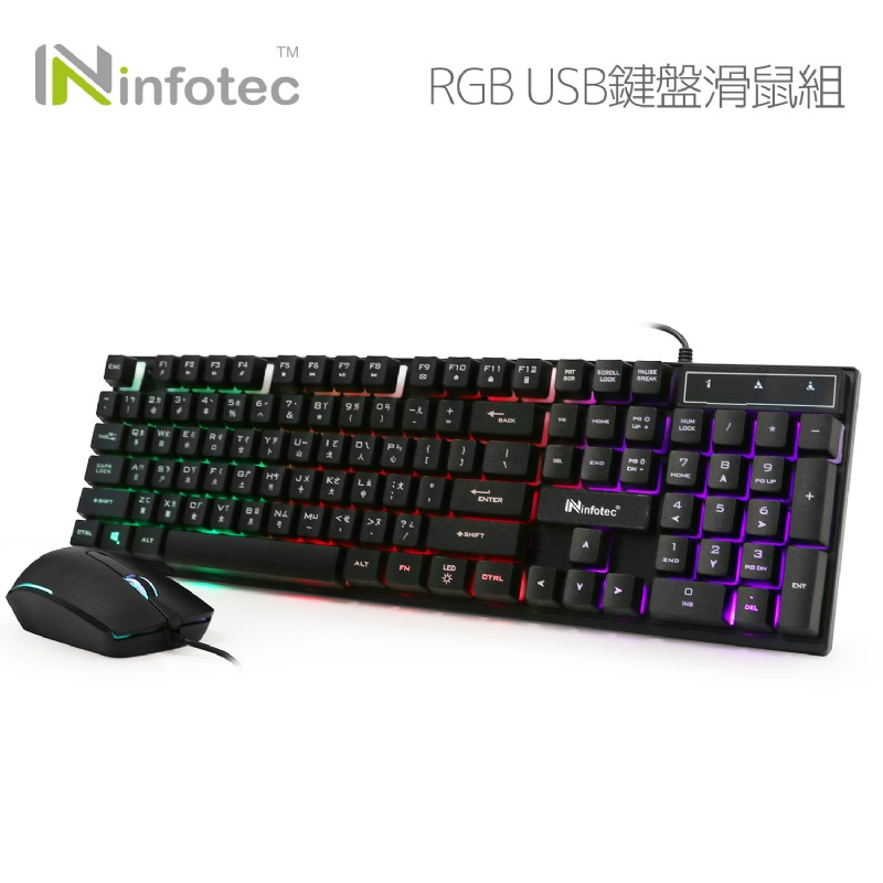 infotec 英富達 KM103 RGB呼吸光 USB鍵盤滑鼠組
