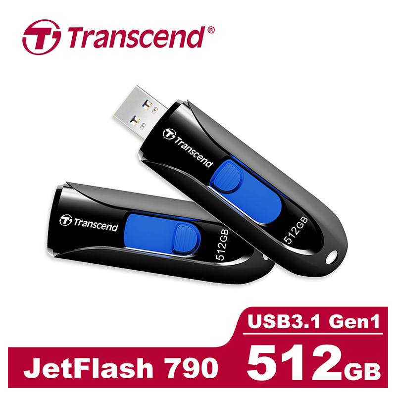 創見JF790 USB3.1 512G隨身碟(黑)