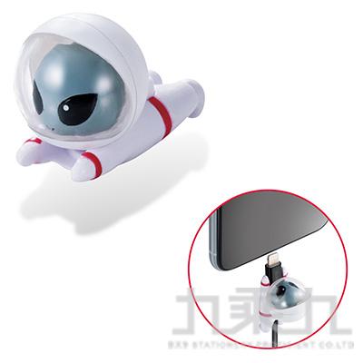 ELECOM Lightning充電線保護套太空動物-外星人