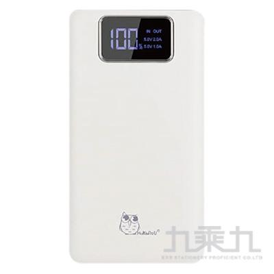 貓頭鷹LED數位冷光面板10000mAh輕薄行動電源-白色