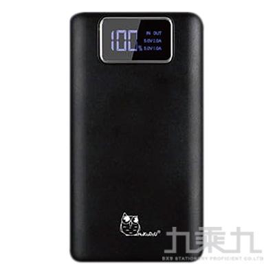 貓頭鷹LED數位冷光面板10000mAh輕薄行動電源-黑色