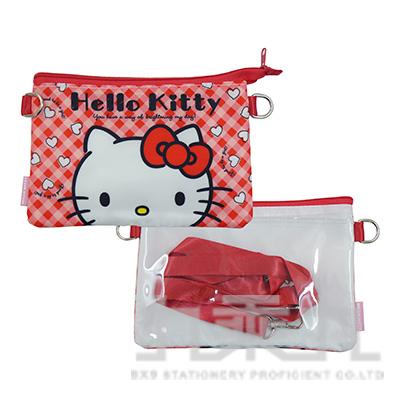 三麗鷗KITTY雙層觸控包-紅格版 D3350029