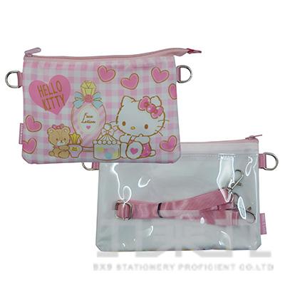 三麗鷗KITTY雙層觸控包-粉格版 D3350030