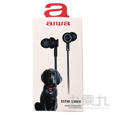 AIWA入耳式有線耳機-黑 ESTM-100BK