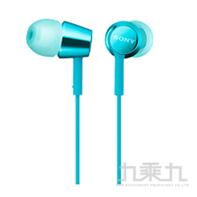 SONY手機用有麥耳道式耳機-淺藍 EX155AP-L