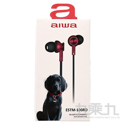 AIWA入耳式有線耳機-紅 ESTM-100RD