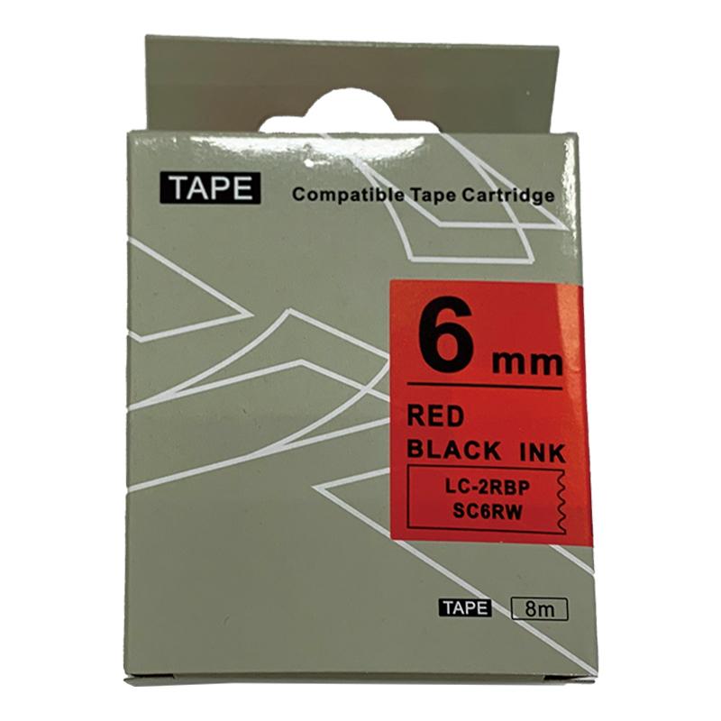 EPSON相容性標籤帶6mm紅底黑字