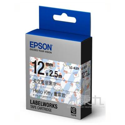 EPSON標籤帶KT系列-畫家款(天空藍底黑字)12mm*2.5M